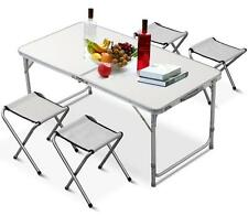 Outdoor Camping Picnic Adjustable Folding Table w/4 Chairs Portable Party Dining