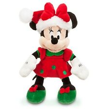 "DISNEY STORE MINI BEAN PLUSH 10"" HOLIDAY MINNIE MOUSE IN SANTA HAT PLUSH BOW"