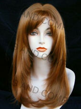 Long Straight Strawberry Blonde Wig w. Blunt Cut Bangs Center skin part WASR 27