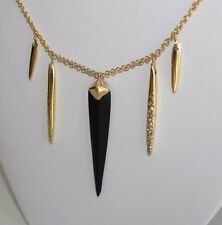 NWT ALEXIS BITTAR Multi Spear Capped Black Lucite Sport Pendant Necklace $145