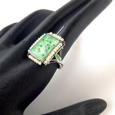 Art Deco Enamel & Antique Qing Dynasty Natural Jadeite Jade 14K White Gold Ring