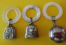 3 Vintage/ Antique Sterling Silver & Mother of Pearl Baby Teething Ring / Rattle