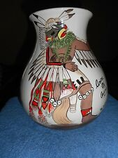 ARIZONA CITY ORIGINAL HAND PAINTED ART POTTERY VASE TRIBAL INDIAN WARRIOR SIGNED