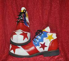 ZYKO Professional Real Leather Clown Shoes 2 stars model (ZH022)Red/White/Blue