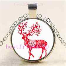Red Snowflake Reindeer Cabochon Glass Tibet Silver Chain Pendant Necklace