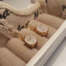 Crackled Diamond Quartz leverback earrings in 14k gold over Sterling silver