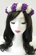 Cadbury Purple & Ivory White Rose Flower Hair Crown Headband Vintage Garland T78
