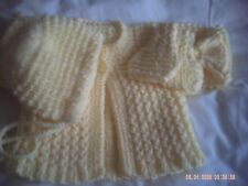 Hand Knitted Yellow Baby Cardigan/Coat, Hat And Mittens Size 0-3 Months.