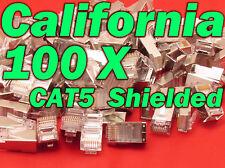 100 X Pcs CAT5 Shielded 8P8C RJ45 Socket Plug Network Modular Connectors Cable 5