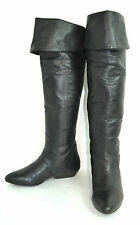 VINTAGE LUCKY BRAND BLACK GENUINE LEATHER WOMEN'S BOOTS FLAT SIZE 7.5