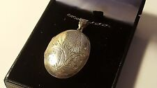 Solid sterling silver vintage Victorian antique large oval locket pendant
