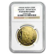 1993 Russia 1 oz Gold 200 Roubles Bears PF-69 NGC - SKU #50304