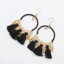 Nero Nappa Oro Perline Pendente Lungo Orecchini Donne Moda Hoop Ear Stud Earring