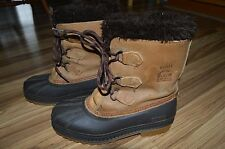 Sorel Badger Leather Winter Snow Boots Wool Liners Mens Sz 6