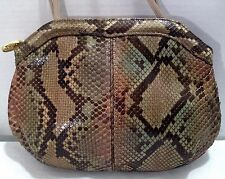 Vintage VARON Genuine Python Snakeskin Leather Beige Green Shoulder Bag