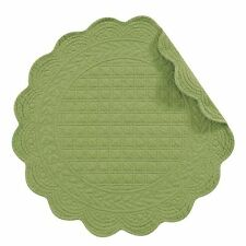 """Set of 2 C&F GREEN 17"""" Round Quilted Cotton Placemats Solid Medium Green"""
