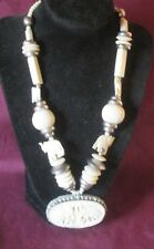 Chunky Vintage Silver-Tone Metal Carved Bone Elephant Necklace