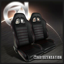 JDM Black PVC Leather Red Stitching Reclinable Racing Bucket Seats Pair