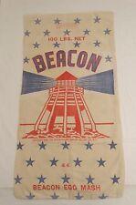 Vtg 1948 BEACON Lighthouse Patriotic Red White Blue Stars FEED SACK Bag 100lbs