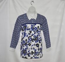 Bob Mackie Button Front Floral Printed Top with Point Collar Size 1X Royal Blue