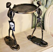 X Large 42cm Skeleton Holding Plate Skull Pillar Candle Holder Ornament Bronze