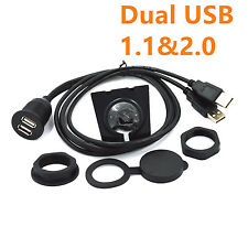 1m Durable Car Stereo Dashboard Flush Mount Dual USB 2.0 A Extension Cable Wire