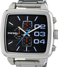 NEW DIESEL DZ4301 DOUBLE DOWN SQUARE CHRONOGRAPH STEEL WATCH
