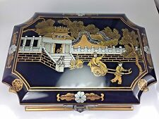 Magnificent Large Chinese Asian Blk Lacquer Wood Jewelry Box