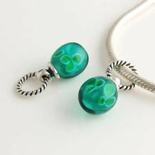 Genuine Sterling Silver 925 Emerald Murano Twist Bead Charm Pendant For Bracelet