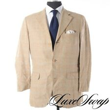 Baldessarini Hugo Boss Linen Wool Honey Hopsack Blue Infused Plaid Jacket 40 R