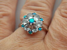 Stunning Black Opal & Aquamarine Sterling Silver Ring SZ M