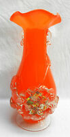 Large Vintage Italian Murano Cased Glass Vase with Floral Decoration - c 1960s