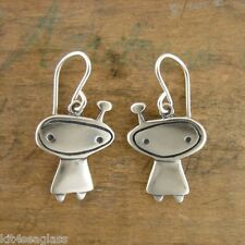 Little Orbit Girl Charm EARRINGS by Mark Poulin Sterling Silver Alien - Gift Box