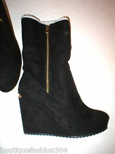 New NIB Womens 10 Juicy Couture Wedge Boots Kasia Shoes Foldover Faux Shearling