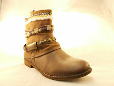 BULLBOXER ELSIE BROWN WOMEN'S ANKLE BOOTS US SIZE 7.5 MEDIUM TRIBAL FRINGE LOW