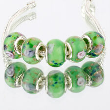 5pcs MURANO 925 silver plated glass bead LAMPWORK For European Charm Bracelet