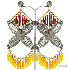 Erickson Beamon Gold Silver Yellow Red Crystal Beaded Chandelier Earrings