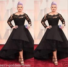 Plus Size Lace Black Long Sleeve Evening Dresses Prom Gown Wedding Party Pageant