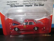 red chevy IMPALA FIRE CHIEF CAR 1/87 HO OPENING HOOD-1978-red built 4 layout