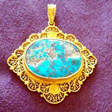 VINTAGE 18k Gold Pendant Raw Turquoise From Iran RARE WOW