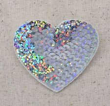 Iron-On Applique/Embroidered Patch - Valentines Sequin Heart - SILVER - Medium