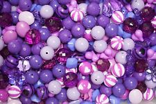 1 pound of Purple Chunky Beads Bubblegum Gum Ball Necklaces- Mixed Lot