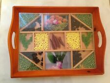 Wooden Serving Tray with moveable grain Plastic Glass inside,TeaCoffee breakfast
