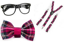 LADIES GIRL PINK TARTAN NERD GEEK SQUAD SCHOOL GIRL BOW TIE FANCY DRESS COSTUME