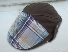 Nobis Men's Linen Brown Ivy Cap - Plaid Front -One Size