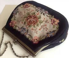 Petit Point Gobelin True-Vintage 50ies, frame bag, hand-made floral embroidery