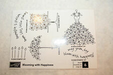 Stampin Up Blooming With Happiness BRAND NEW Rubber Stamp Set of 6 Wedding Bride