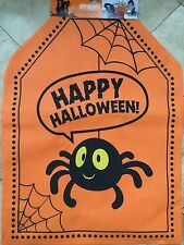 "Happy Halloween(4)  Orange Chair Spooky Spider Chair Cover. Size 19 X 26""."