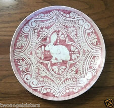 Pottery Barn GRAPHIC BUNNY Salad Dessert Plate - PINK- Easter Spring