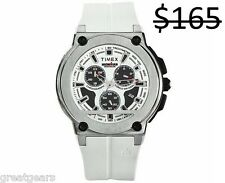 Timex Men Ironman Chronograph Tachymeter Triathlon Sports White Strap Watch